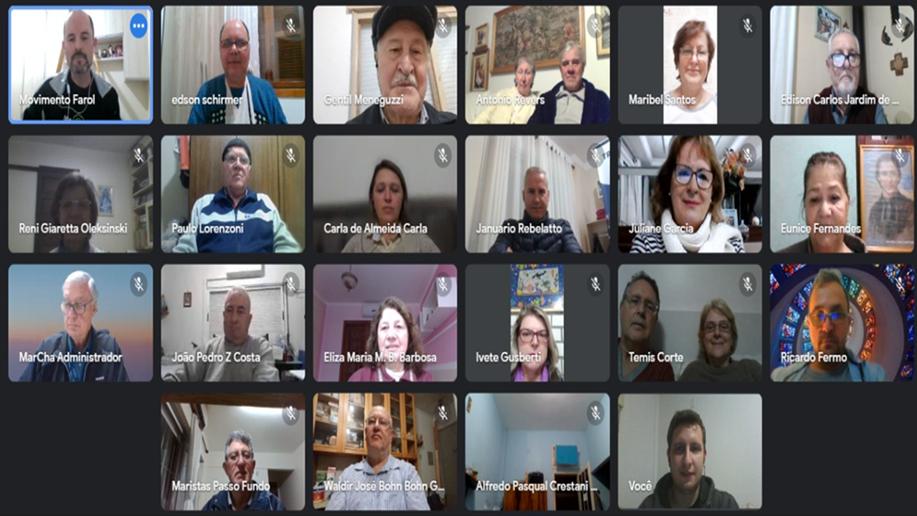 Mais de 25 lideranças das expressões laicais maristas participaram do encontro virtual