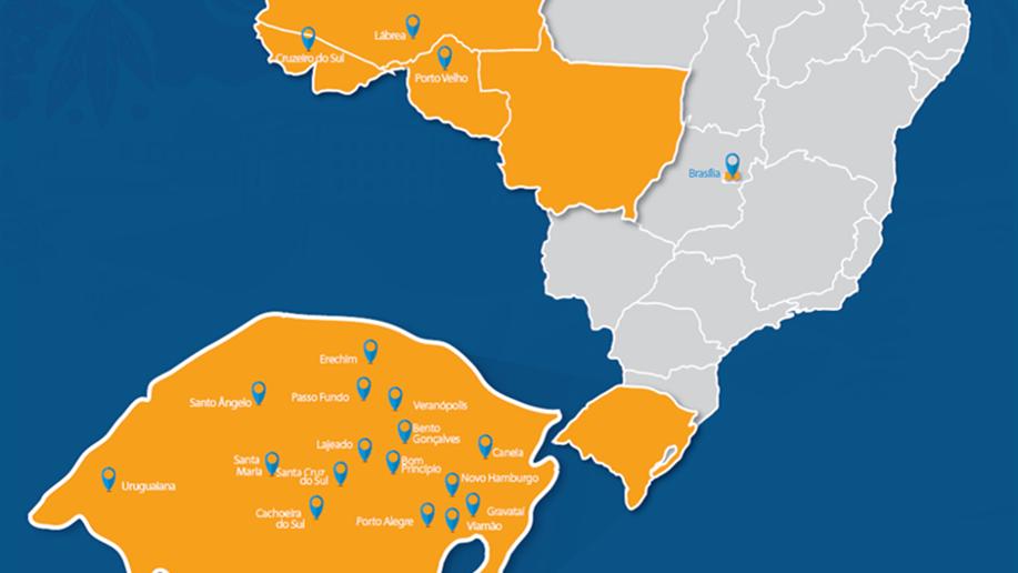 A Rede Marista está presente em 17 cidades do Rio Grande do Sul, no Distrito Federal e em seis cidades da Região Amazônica.