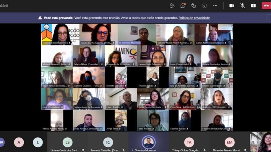A posse da nova gestão do Cedica/RS foi realizada em evento online